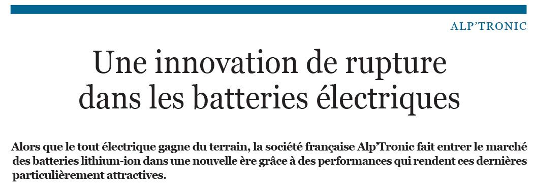 Une innovation de rupture dans les batteries électriques